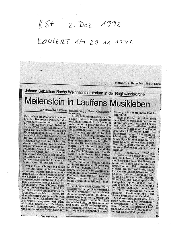 1992-11-29 Weihnachtsoratorium Presse