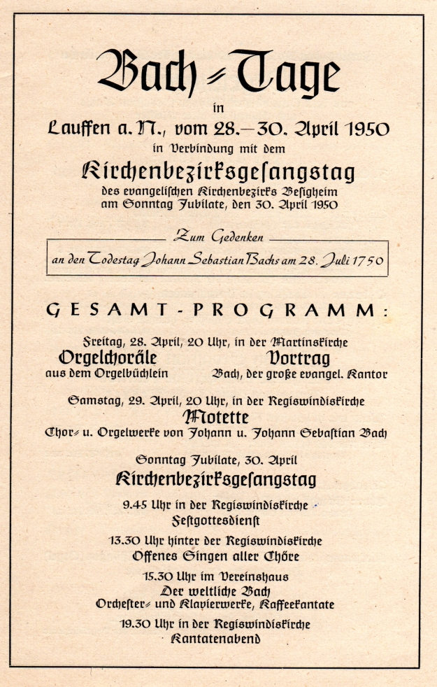 1950 Bachtage Lauffen