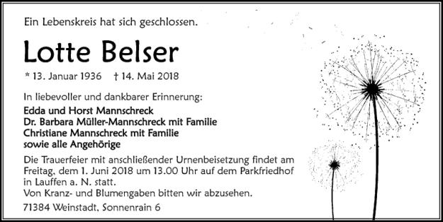 Lotte-Belser-Traueranzeige
